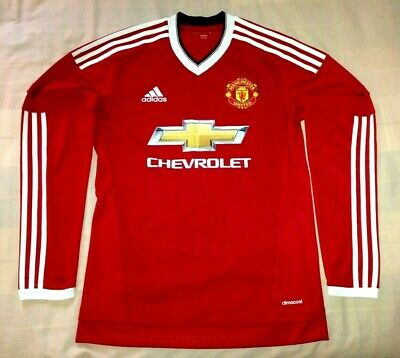2015/2016 Manchester United Adidas Long-Sleeved Home Shirt SMALL Jersey Man Utd