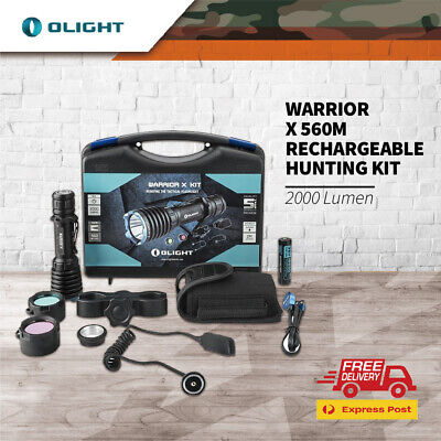Olight Warrior X 2000 Lums Rechargeable Torch Hunting Kit W Lens Charger Mount
