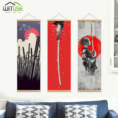 Scroll Painting Wooden Hanger Wall Picture Home Hotel Bar Decor Canvas Poster 8