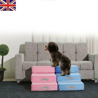 HOT Pet Stairs Dog Cat Training Steps Safe Ramp Foam Couch Removable Cover