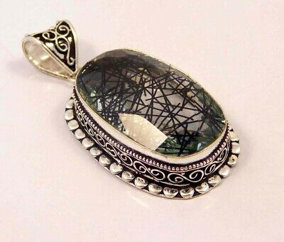 Black Needle Rutlie .925 Silver Plated Hand Carving Pendant Jewelry JC6632