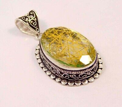Golden Needle Rutlie .925 Silver Plated Hand Carving Pendant Jewelry JC6635