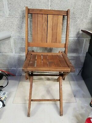 Vintage Antique Wooden Folding Chair Wood Slat Seat