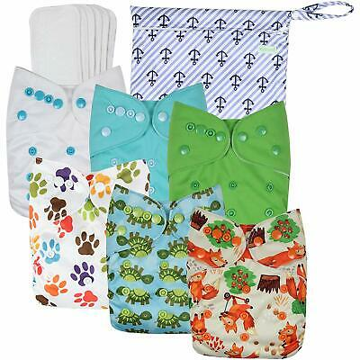 Wegreeco Washable Reusable Baby Cloth Pocket Diapers 6 Pack + 6 Bamboo