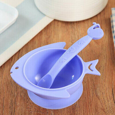 Children Fish Shape Baby Toddle Food Feeding Bowl Dinnerware Dining Plate Set Z