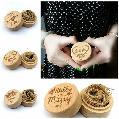 Wood Ring Box Jewelry Holder Rustic Wedding Engagement Case Valentine's Day