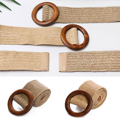 Round Wooden Buckle Dress Belt For Women Casual Female Braided Wide Strap