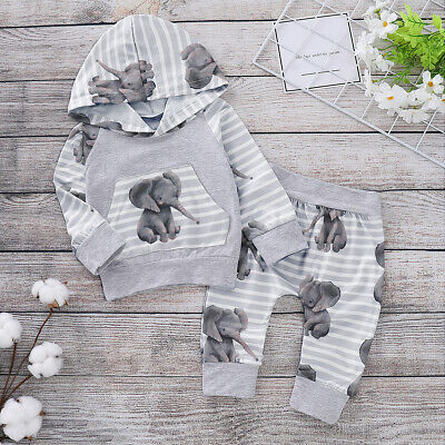 Canis Newborn Baby Boy Cute Cartoon Elephant Hooded Top Pants Outfit Set Clothes