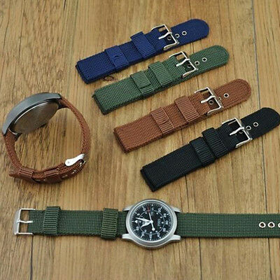 BH_ KE_ Military Army Nylon Wrist Watch Band 18mm 20mm 22mm 24 Replacement Strap