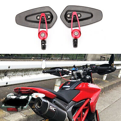 """For Ducati 848 EVO Red Bar End Mirrors Motorcycle Rear View Standard Hollow 7/8"""""""