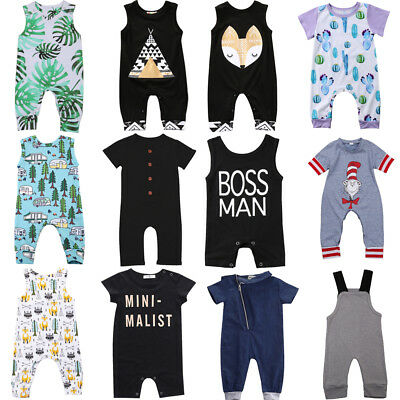 Newborn Infant Kids Baby Boy Girl Romper Bodysuit Jumpsuit Clothes Outfits