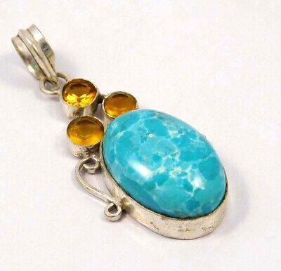 Heated Larimar .925 Silver Plated Handmade Pendant Jewelry JC4652