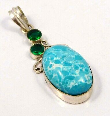 Heated Larimar .925 Silver Plated Handmade Pendant Jewelry JC4639