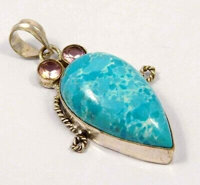 Heated Larimar .925 Silver Plated Handmade Pendant Jewelry JC4653