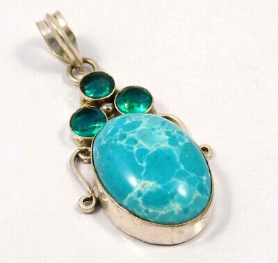 Heated Larimar .925 Silver Plated Handmade Pendant Jewelry JC4654