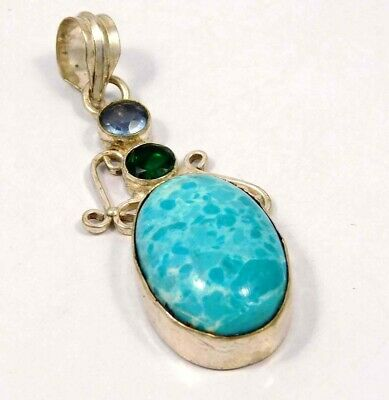 Heated Larimar .925 Silver Plated Handmade Pendant Jewelry JC4634