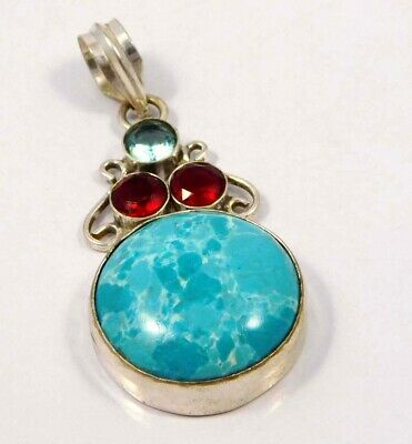 Heated Larimar .925 Silver Plated Handmade Pendant Jewelry JC4642