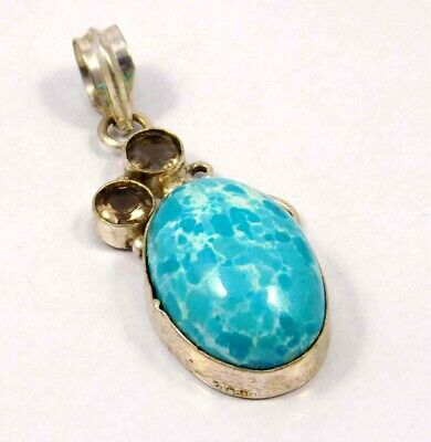 Heated Larimar .925 Silver Plated Handmade Pendant Jewelry JC4648