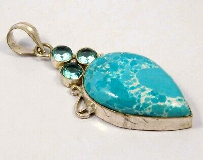 Heated Larimar .925 Silver Plated Handmade Pendant Jewelry JC4629
