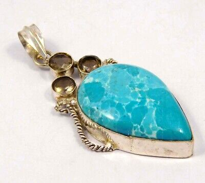 Heated Larimar .925 Silver Plated Handmade Pendant Jewelry JC4631