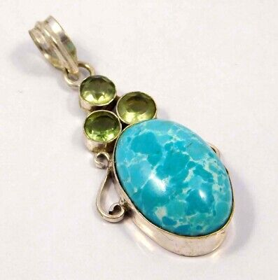 Heated Larimar .925 Silver Plated Handmade Pendant Jewelry JC4651