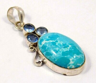 Heated Larimar .925 Silver Plated Handmade Pendant Jewelry JC4637