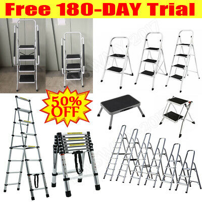 3 4 5 6 7 8 Tread Step Ladder Folding Aluminum Ladders with Safety Non-Slip Step