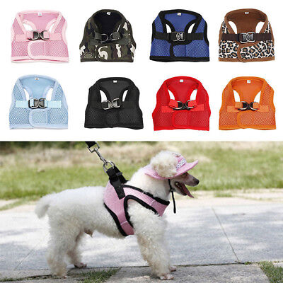 BH_ HK- Small Pet Puppy Dog Soft Mesh Walking Collar Strap Vest Harness Apparel