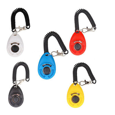 BH_ Puppy Dog Cat Pet Click Clicker whistle Training Obedience Aid Wrist Strap G