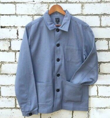 60s Style French Chalk Blue Cotton Twill Corduroy Chore Work Jacket All Sizes