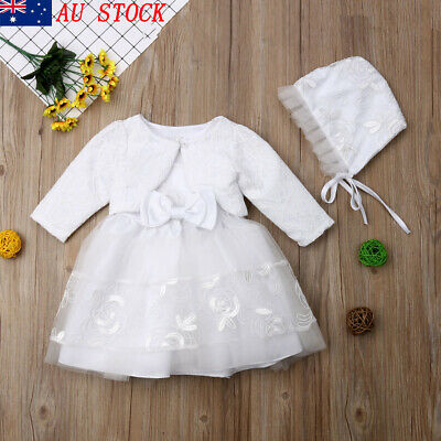 3pcs Baby Girls Princess Dress Lace Christening Wedding Party Dresses Clothes