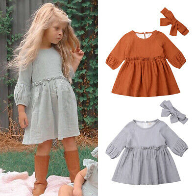 Toddler Kids Baby Girls Summer Cotton & Linen Solid Party Dress Casual Clothes