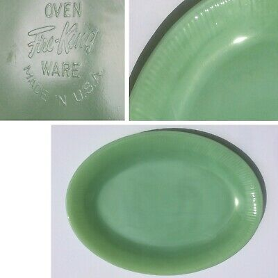 "Vintage FIRE KING Green JADEITE Oval Serving Platter JANE RAY 12""x9"" Marked"
