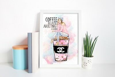 A4 Framed Print Wall Art Home Decor Watercolour Coffee Monday Girl Adulting