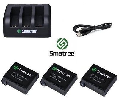 Smatree  Battery Kit & USB Charger for GoPro HERO 3 3+ 4 5 6 & 7 Go Pro Set