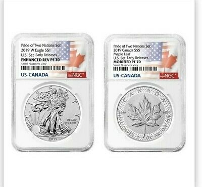 2019 Pride of Two Nations 2-Coin Set NGC PF 70 ER  ~ Two Flags Label ~