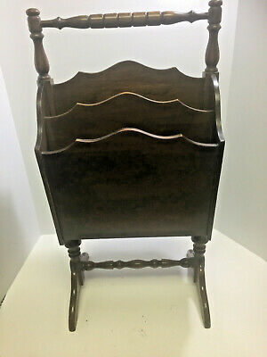 Antique Vintage Ferguson Bros Mfg Co Dark Wood Magazine Rack Hoboken NJ