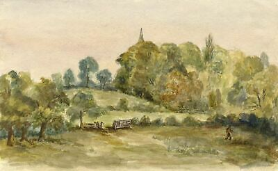 M. Capel Cure, Church Spire from Meadow, Abbess Roding -19th-century watercolour