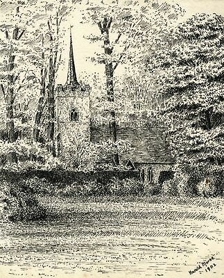 Harold Morse, St Edmund's Church, Abbess Roding, Essex - 1902 pen & ink drawing