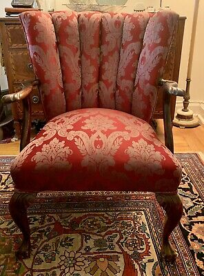 Large Vintage George III Carved Mahogany Channel Back Claw Arm Chair NYC