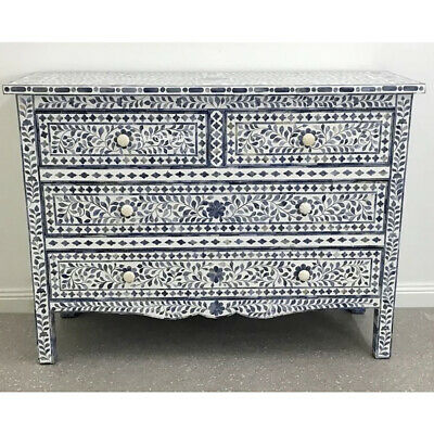 Handmade Dyed Bone Inlay Blue Floral Leaf Design Sideboard Buffet