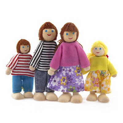 4pcs Wooden Puppet Toys Cartoon Family Dolls for Children Play House Gift