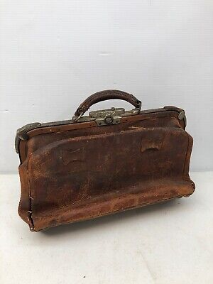 Rare 1900 Vintage Brown Textured Pebbled Leather Medical Doctor Physician's Bag