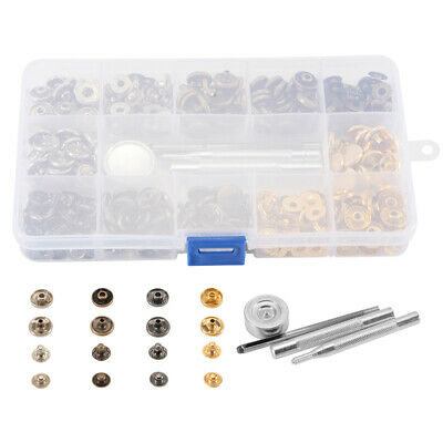 100 Set Snap Fasteners Popper Press Stud Sewing Button 12.5mm w/ Tools Kit CR060