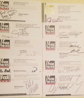 FOX NEWS CHANNEL Autographed Business Cards - LOT of 10