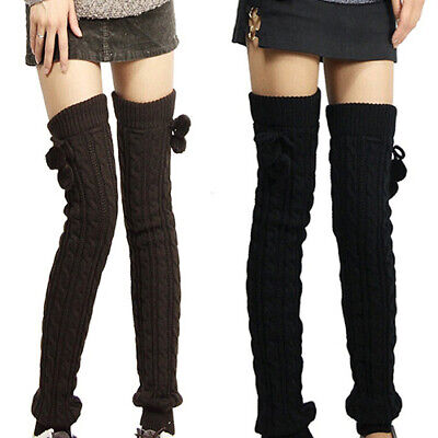 BH_ Women Winter Crochet Knitted Stocking Footless Leg Warmers Thigh High Socks
