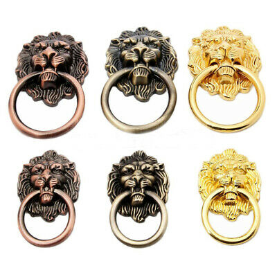 BH_ Vintage Lion Head Antique Drawer Door Cabinet Pull Ring Knobs Handles USA