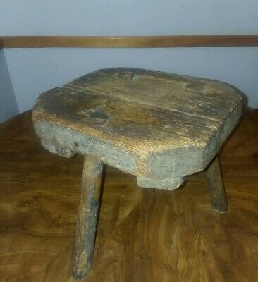 Antique Primitive  Farm Wooden Milking Stool 3 Legged Upstate NY 1800's