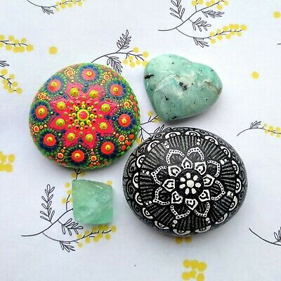 Set of 2 mandala stone hand painted dot art spiritual meditation yoga decoration