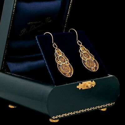 Antique Vintage Nouveau 10k Gold Spanish Etruscan Filigree Wedding Drop Earrings